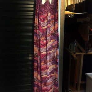Multicolored pink maxi halter dress, never worn.