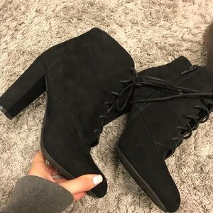 BAMBOO black lace up heeled suede booties