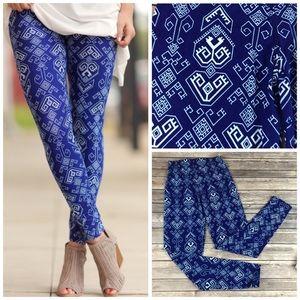 Cobalt Aztec Print Leggings