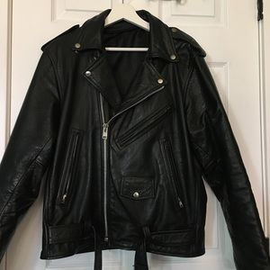 Genuine Leather Biker Jacket: Black