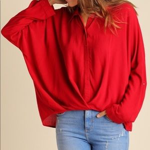Tops - Deep red blouse