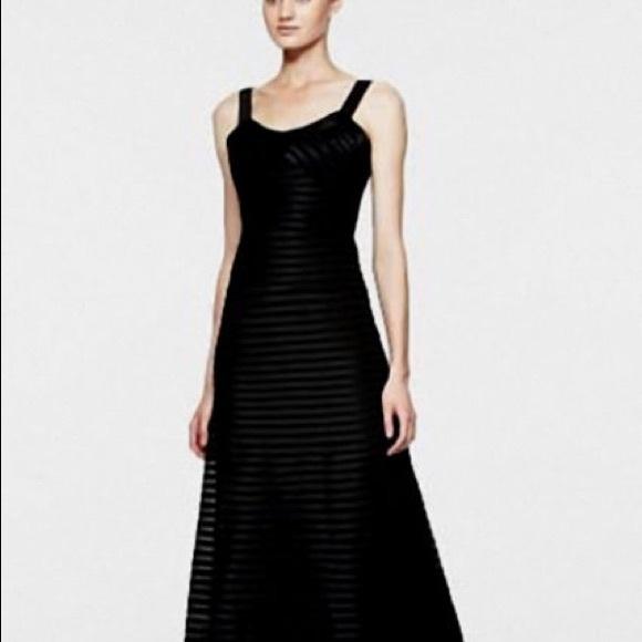 BCBGMaxAzria Dresses | Bcbg Black Satin Piping Sheer Contrast Gown ...