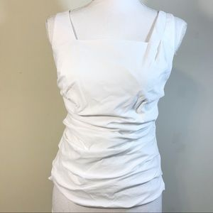 Ann Taylor Petites White Sleeveless Fitted Blouse