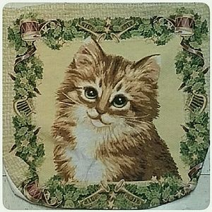 Christmas Cat Large Canvas Tapestry Tote Bag