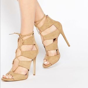 Asos New Look Lace Up Heeled Pump size 10
