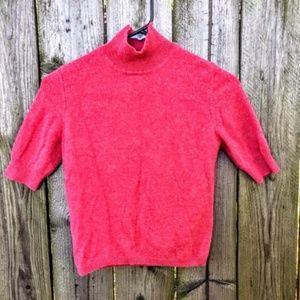 Ann Taylor Short Sleeve Mock Turtleneck Cashmere