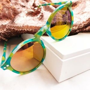 Wildfox Green and Yellow Mirrored Sunglasses
