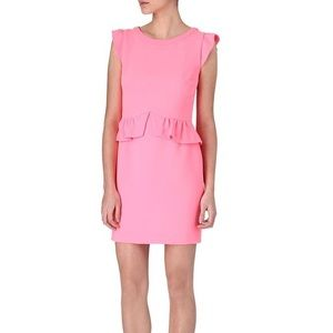 SANDRO Resonance Peplum Crepe Dress in Pink EUC