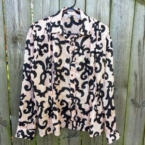 Anne Klein Button Front Blouse Polyester Satiny