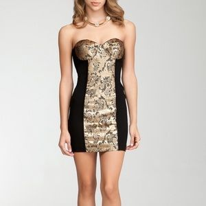 Bebe Metallic Jacquard Ponte Dress
