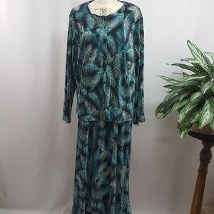 Vintage Plus Size 2PC Blouse & Skirt 3X