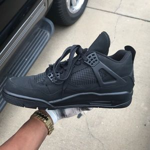 15e97d2089cc Shoes - Custom Matte Black Retro Air Jordan 4s