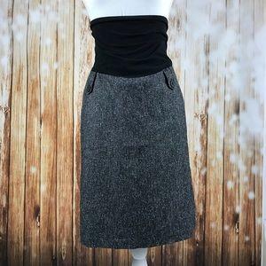 Maternity Career Skirt Black White Stretch Panel