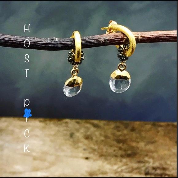 Matana Jewelry - Matana Angels Tears  crystal quartz gold earrings