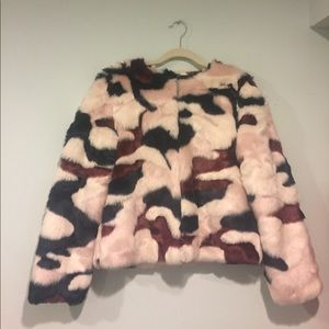 Cynthia Rowley Faux Fur Camo Coat
