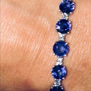 Jewelry - 18kt diamond & sapphire tennis bracelet $8,500