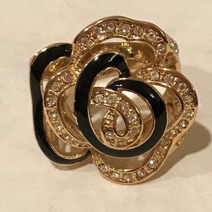 Jewelry - Elegant Gold Black Enamel Crystal Swirl Rose Ring