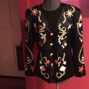 Escada NWT silk embroidered captain jacket