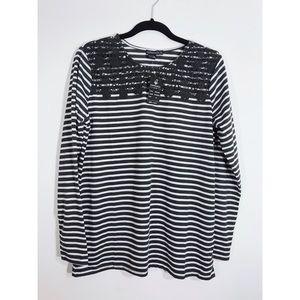Women's Striped Top • Crochet Knit Detail • XL