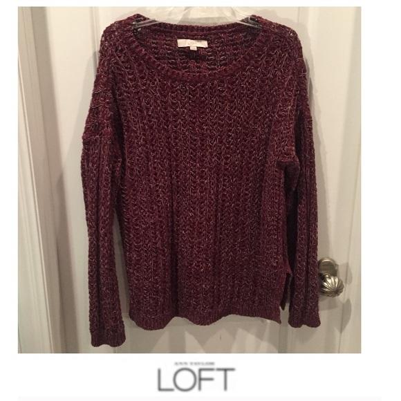 7a94b9b420 LOFT Sweaters - Ann Taylor LOFT Maroon   Gray Loose Knit Sweater