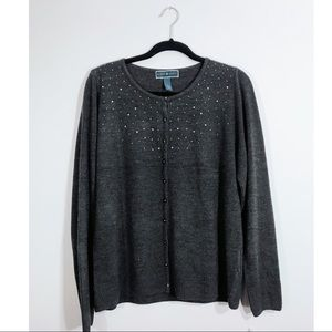 NWT • Heather Grey Jeweled Button Up Sweater • XL