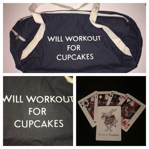 New Will Workout for Cupcakes Gym Bag Denim