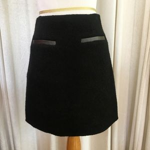 Theory Black Boucle Wool A-Line Skirt Size 6