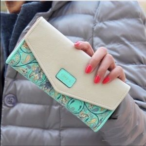 Handbags - Teal and White Floral Wallet/Clutch