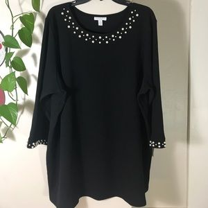 Charter Club Plus Size Pearl-Embellished Top. B035