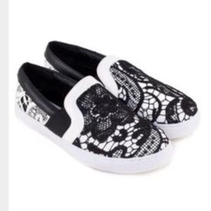 Steve Madden Black and White Lace Slip On Sneakers