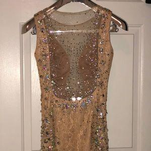 Jovani Dresses - JVN By JOVANI Nude Rhinestone Prom Dress