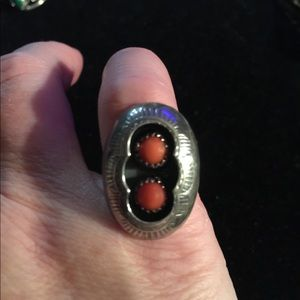 Jewelry - sterling silver Navajo red coral shadow box ring
