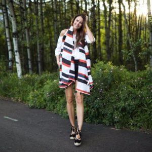 Ann Taylor striped tassel scarf