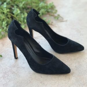 Rebecca Minkoff Pointed Toe Black Suede Heels