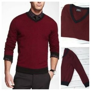 Express Modern Fit V-Neck Striped Sweater Men's MD