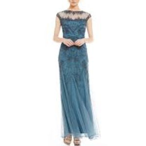 Pisarro Nights Floral Beaded Illusion gown dress