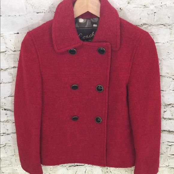 b820a959fe5 Coach Jackets   Blazers - Coach Double Breasted Wool Short Pea Coat Jacket