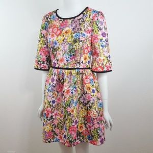 {Black Halo} Dress Floral Quilted A-Line Mini SZ 6