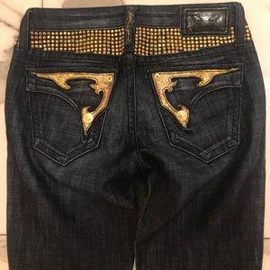 Robins jeans gold crystals and pocket denim
