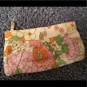 Floral Linen Fabric Clutch Purse with Zipper