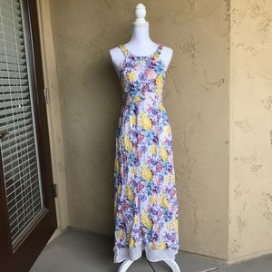 Ark & Co boho floral linen maxi dress size S