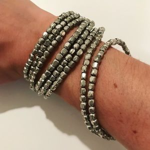 Metallic silver gray beaded slinky wrap bracelet