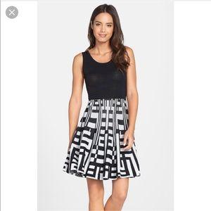 Black Stripe Maze Sweater Dress with Flared Skirt