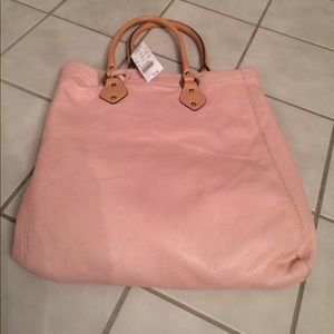 J. Crew pink leather tote.  New with tags.