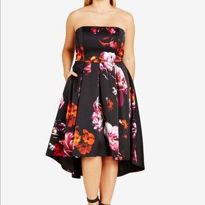 Strapless Floral Print High Low Dress