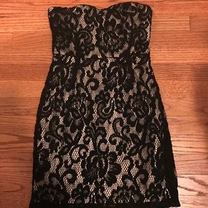 Lace black and beige dress