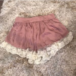 Urban Outfitters Satin Lace Shorts