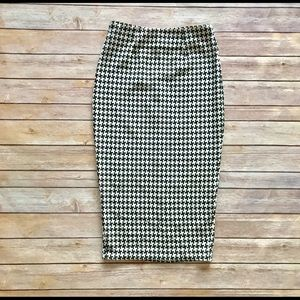 Asos Houndstooth High Waist Midi Pencil Skirt