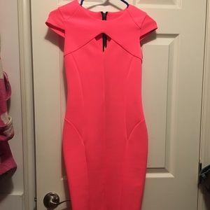 Hot neon pink scuba dress