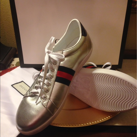 8710db35ef78 Gucci Other - Authentic Gucci Ace Metallic Leather Sneaker